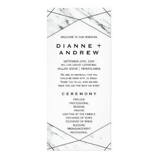 White and Black Geometric Marble Wedding Program