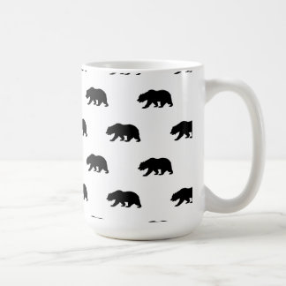 White and Black Grizzly Bear Pattern Classic White Coffee Mug