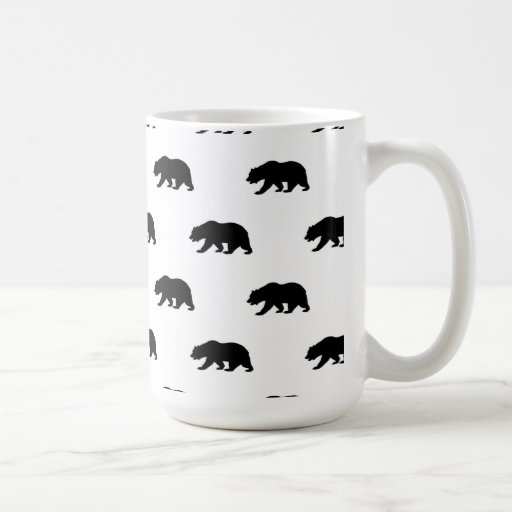 White and Black Grizzly Bear Pattern Coffee Mug