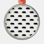 White and Black Grizzly Bear Pattern Ornaments
