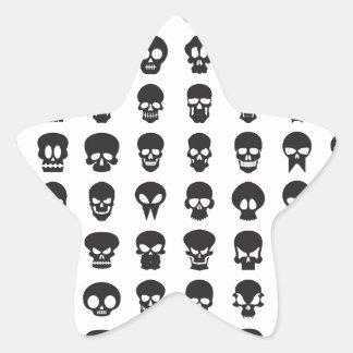 White and Black Halloween Skulls Star Sticker