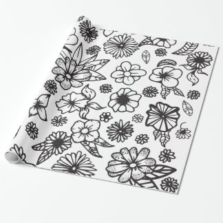 White and Black Hand Drawn Flowers and Foliage Wrapping Paper