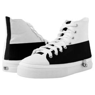 White and Black Hi-Tops Printed Shoes