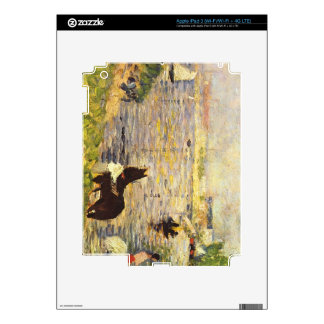 White and black horse in the river by Seurat iPad 3 Skins