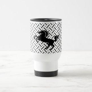 White And Black  Horse Plaid Travel Mug