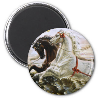 White and Black Horses 2 Inch Round Magnet