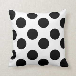 White and Black Large Polka Dot Accent Pillow