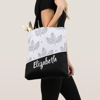 White And Black Leaf Pattern Personalized Tote Bag