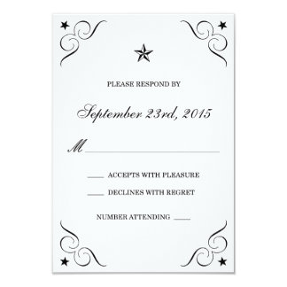 White and Black Lone Star Wedding RSVP Cards