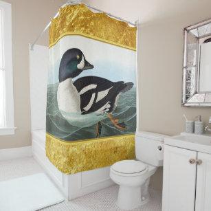 White And Black Mallard Ducks Swimming In Water Shower Curtain