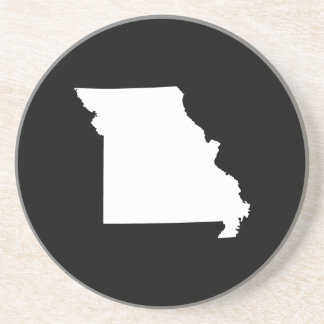 White and Black Missouri Drink Coaster