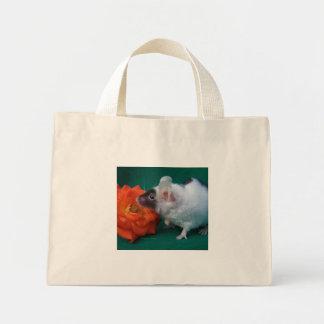 White and Black mouse Orange Tea Rose Mini Tote Bag