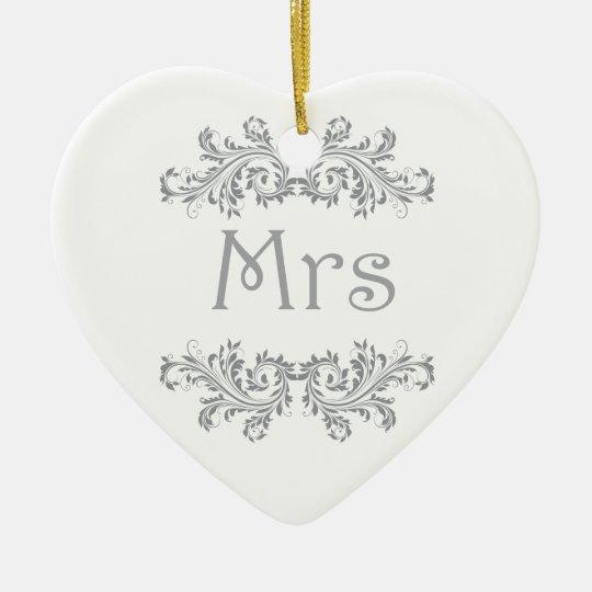 White and Black Mr & Mrs Wedding Favor Ornament. Ceramic Ornament