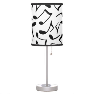 White and Black Music Notes Table Lamps