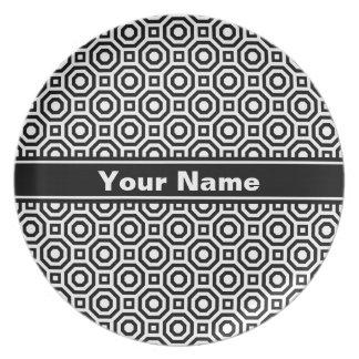 White and Black Nested Octagon Melamine Plate
