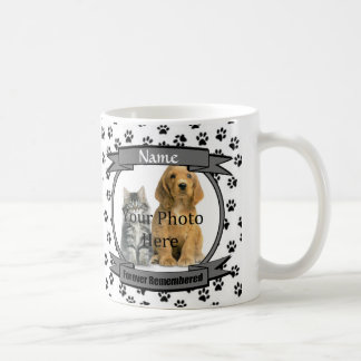 White and Black Paw Prints Dog or Cat Memorial Coffee Mug
