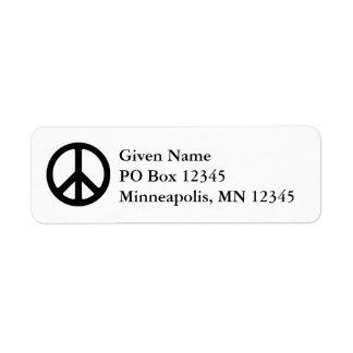 White and Black Peace Symbol Label