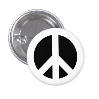 White and Black Peace Symbol Pinback Button