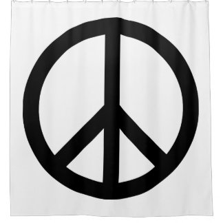 White and Black Peace Symbol Shower Curtain