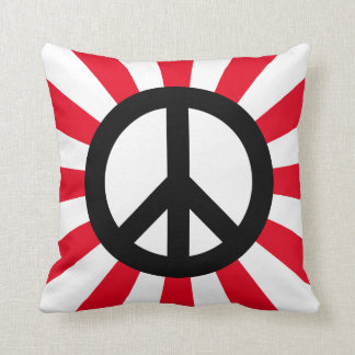 White and Black Peace Symbol with Starburst Throw Pillow