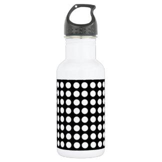 White and Black Polka Dot 18oz Water Bottle