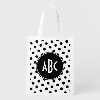 White and Black Polka Dot Monogram Reusable Grocery Bag