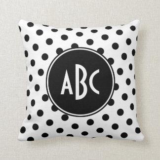 White and Black Polka Dot Monogram Throw Pillow