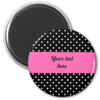 White and Black Polka Dot Pattern 2 Inch Round Magnet