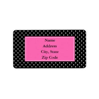 White and Black Polka Dot Pattern Address Label
