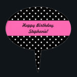 """White and Black Polka Dot Pattern Cake Topper<br><div class=""""desc"""">Black and white polka dot pattern. White polka dots on black and in the middle there is a hot pink rectangle where you can add your text.</div>"""