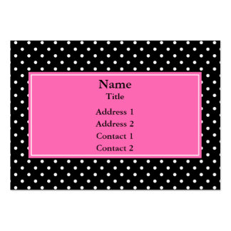 White and Black Polka Dot Pattern Large Business Card