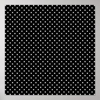 White and Black Polka Dot Pattern Poster