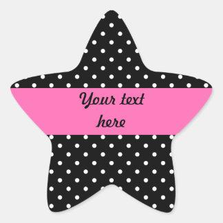 White and Black Polka Dot Pattern Star Sticker