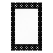 White and Black Polka Dot Pattern Stationery