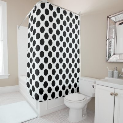 White Polka Dots on Sweet Butter Yellow Shower Curtain | Zazzle