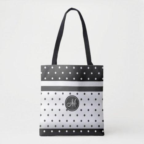 White and Black Polka Dots Tote Bag