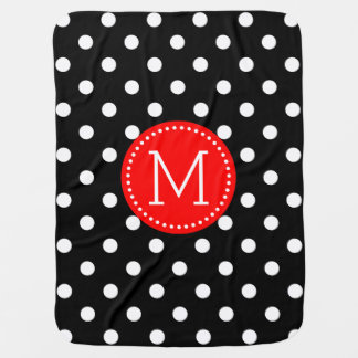 White And Black Polkadot Red Accents Stroller Blanket