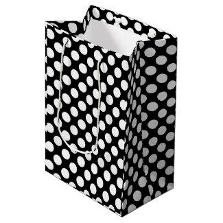 White And Black Polkadots Pattern Medium Gift Bag