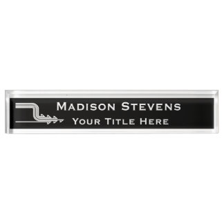 White and Black Professional Desk Nameplate