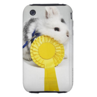 White and black rabbit on blue leash with yellow iPhone 3 tough covers