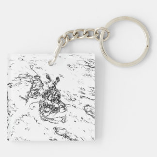 White and Black random art Keychain