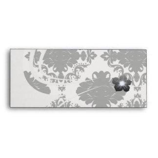white and black romantic damask design envelope