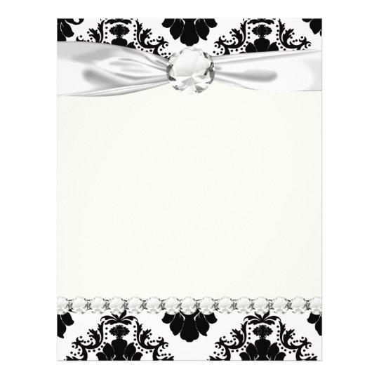 white and black romantic damask design flyer