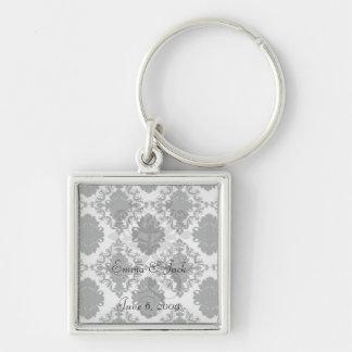white and black romantic damask design keychains