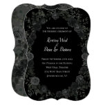 🎃  White and Black Rose Gothic Wedding Invitations