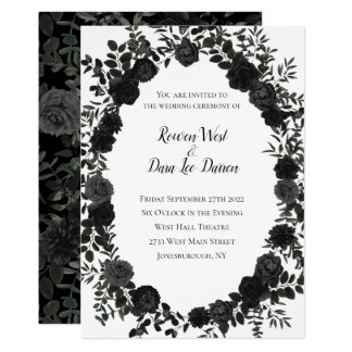 White and Black Rose Gothic Wedding Invitations