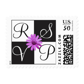 White and Black RSVP Daisy Stamp