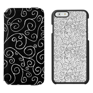 White and Black Scrolling Curves Patterns iPhone 6/6s Wallet Case