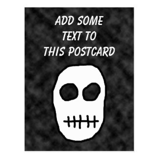 White and Black Skull. Primitive. Postcard