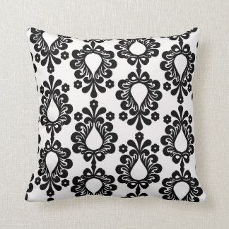 white and black small flower damask throw pillow